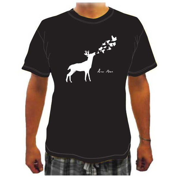 Low Roar - Deer & Birds Unisex Black T-Shirt