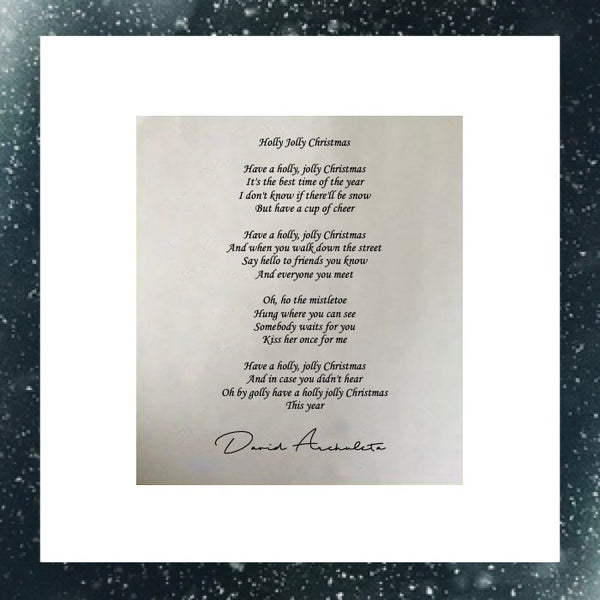 David Archuleta - Signed Lyric Sheet