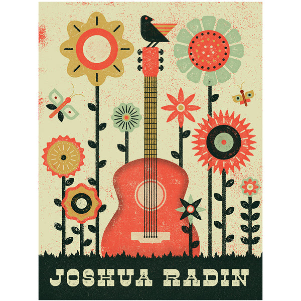 Joshua Radin - Custom Screen Printed Flower Guitar Tour Poster