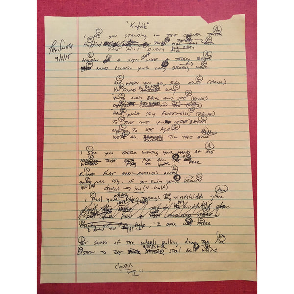 Tex Smith - Kinfolk Handwritten Lyric Sheet