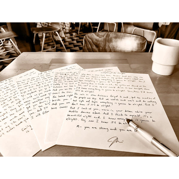Joshua Radin - Handwritten Lyric Sheet (PRESALE 08/31/20)