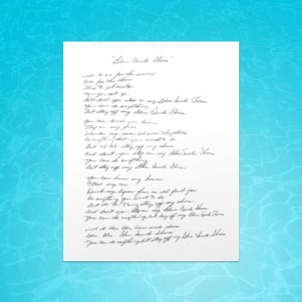"Riker and The Beachcombers - Signed Handwritten Lyric Sheet for ""Always"" (PRESALE)"