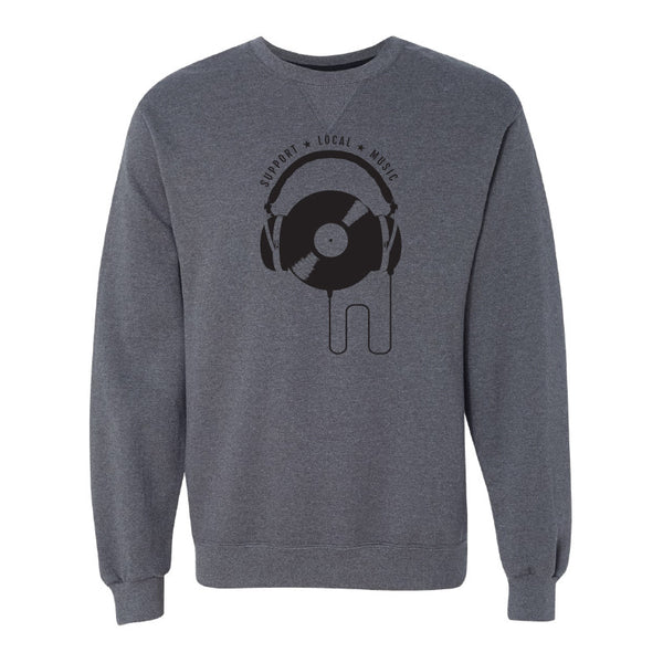 Support Local Music - Vinyl Headphones Crewneck Sweatshirt