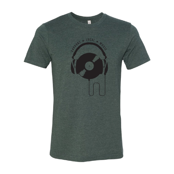 Support Local Music - Vinyl Headphones Tee (Heather Forest)