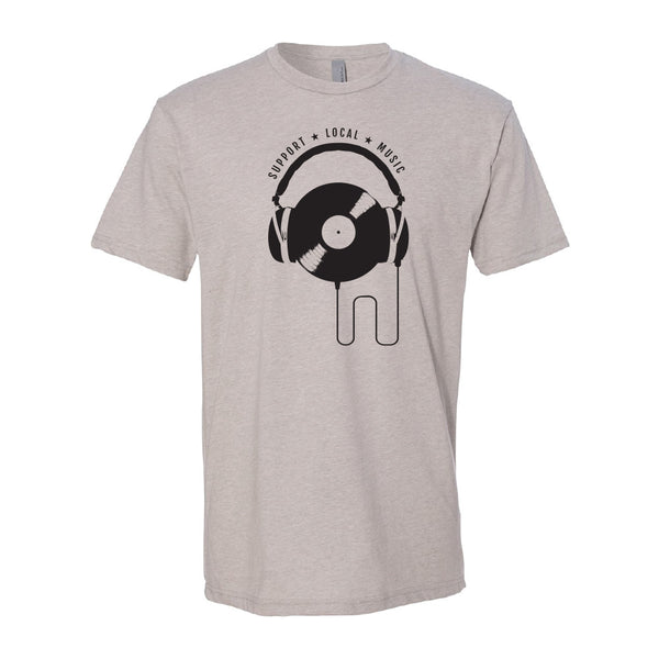 Support Local Music - Vinyl Headphones Tee (Heather Silk)