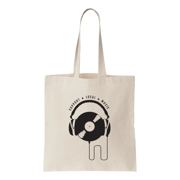 Support Local Music - Vinyl Headphones Canvas Tote Bag