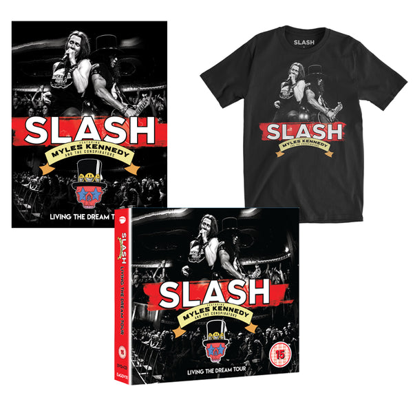 Slash Featuring Myles Kennedy & The Conspirators - Living The Dream Blu-Ray + Tee + Poster Bundle (PRESALE)