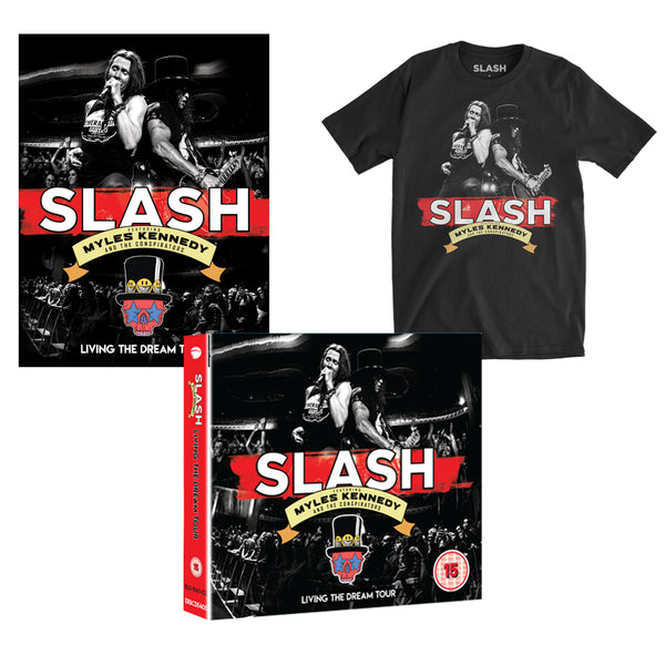 Slash Featuring Myles Kennedy & The Conspirators - Living The Dream DVD + Tee + Poster Bundle