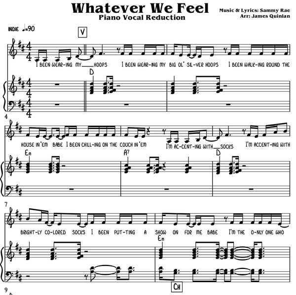 Sammy Rae - Whatever We Feel Transcription Download