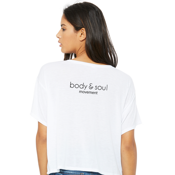 Body and Soul Movement - PRACTICE Women's Flowy Boxy Tee (White)