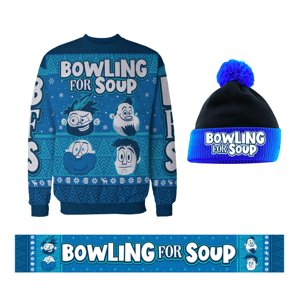 Bowling For Soup - Logo Beanie + Sweater + Scarf Bundle