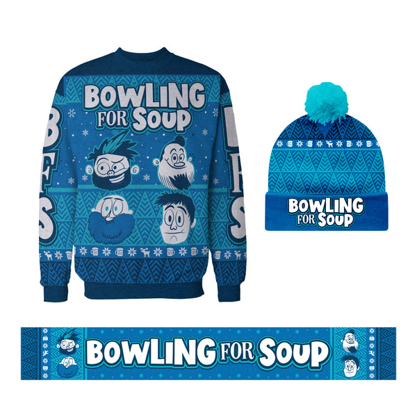 Bowling For Soup - Winter Beanie + Sweater + Scarf Bundle (PRESALE 11/29/19)