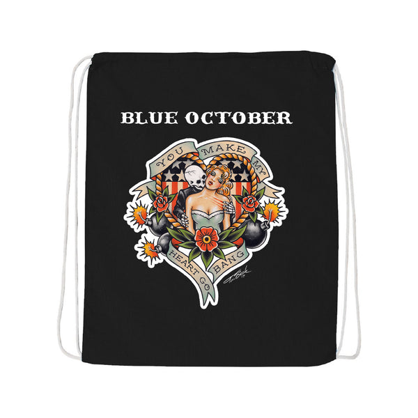 Blue October - Heart Go Bang Drawstring Bag