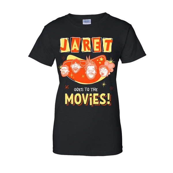 Jaret Goes To The Movies - Cartoon Faces Ladies Tee