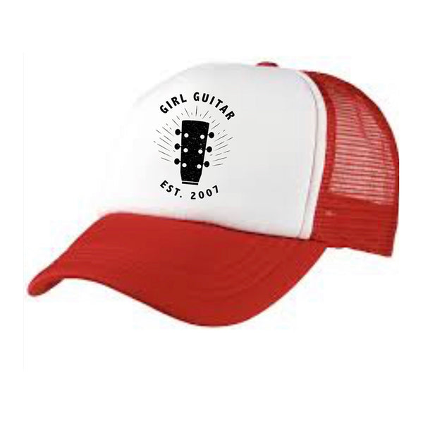 Girl Guitar - Red Trucker Hat