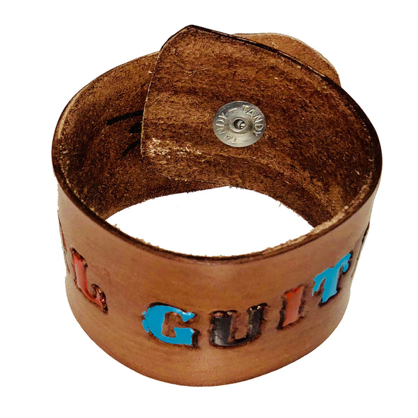 Girl Guitar - Handmade Leather Cuff