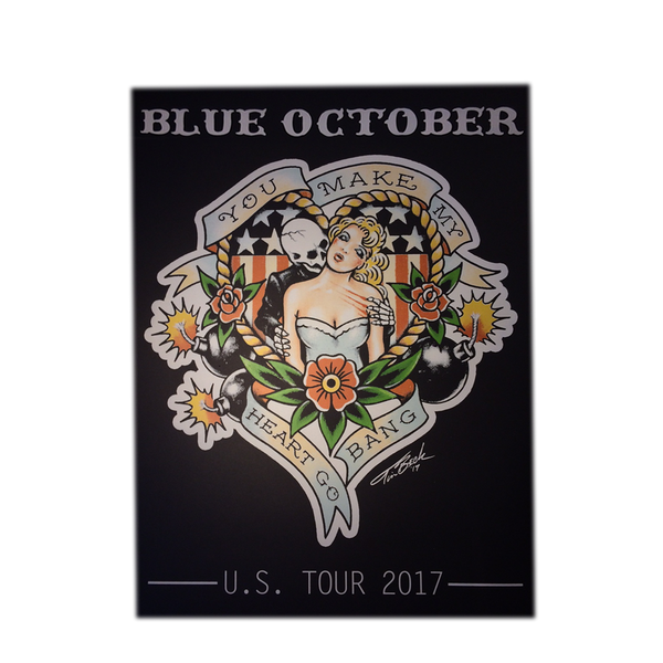 Blue October - Heart Go Bang 6 Color Custom Screenprinted Poster