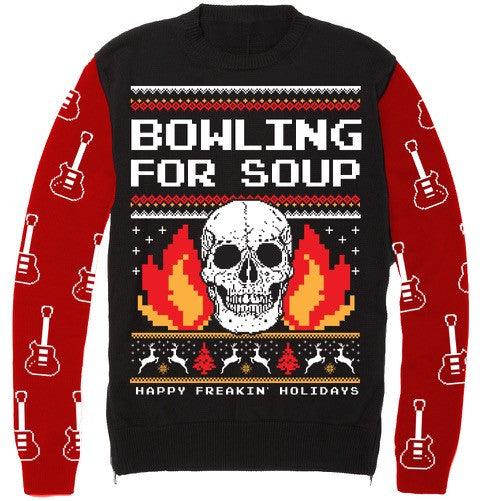 Ugly Christmas Sweaters.Bowling For Soup Happy Freakin Holidays Ugly Christmas Sweater