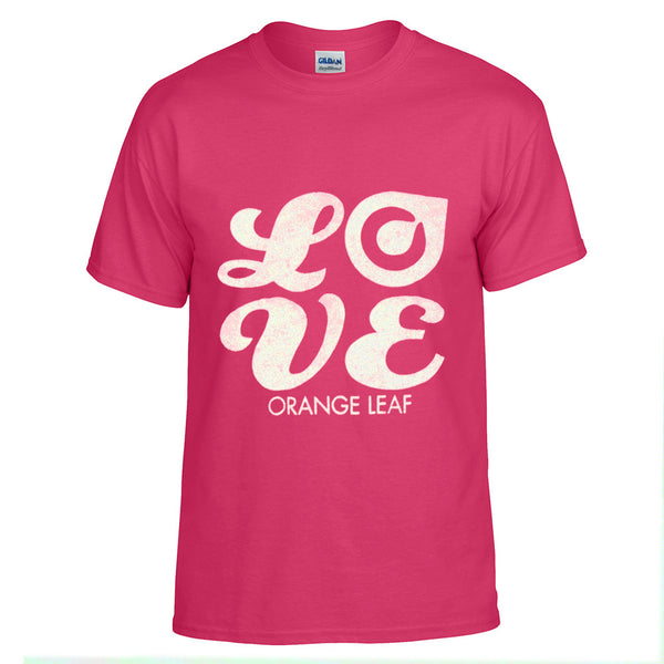 Orange Leaf Austin Uniform Store - Script Logo Kids Tee (Pink)