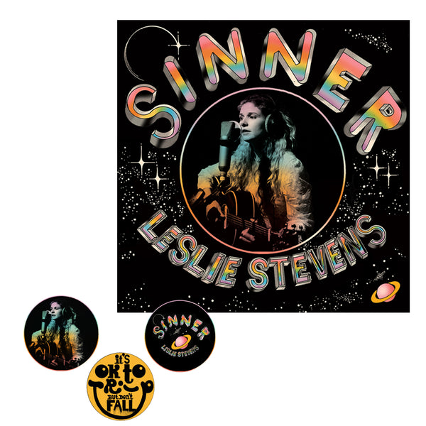 Leslie Stevens - Sinner Black Vinyl + Pin Pack Bundle
