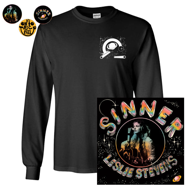 Leslie Stevens - Sinner Tee + Purple Vinyl & Pins Bundle