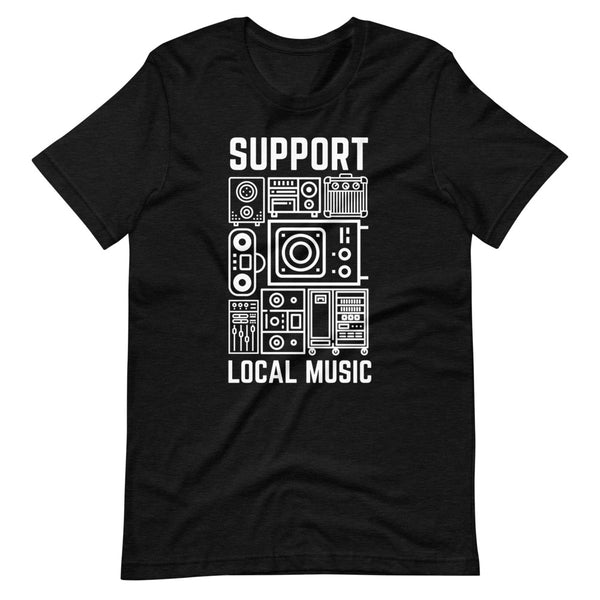 Support Local Music - Retro Gear Tee (Heather Black)