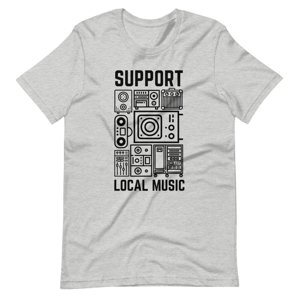 Support Local Music - Retro Gear Tee (Heather Grey)