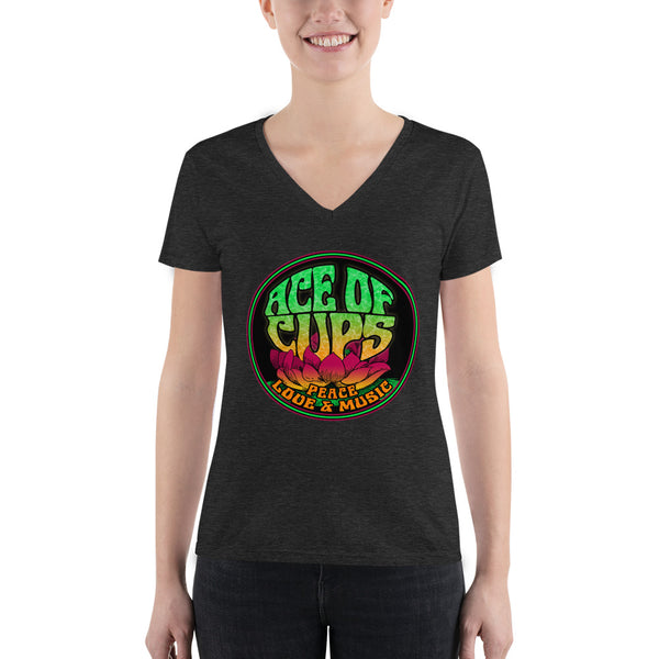 Ace of Cups - Ladies Logo V-neck Tee (Black)