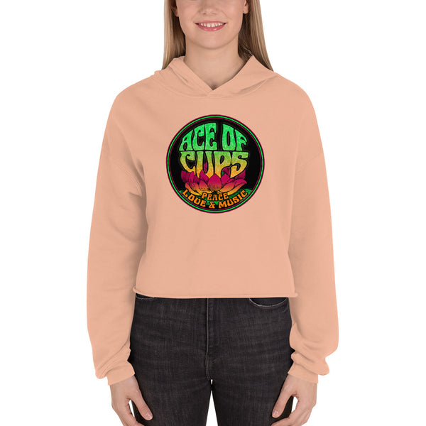 Ace of Cups - Ladies Logo Crop Hoodie (Peach)