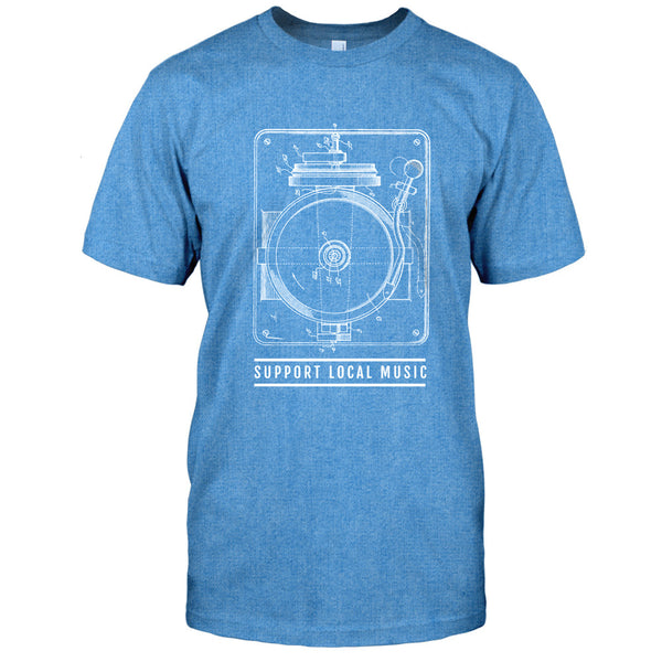 Support Local Music - Steampunk Turntable Tee (Heather Blue)