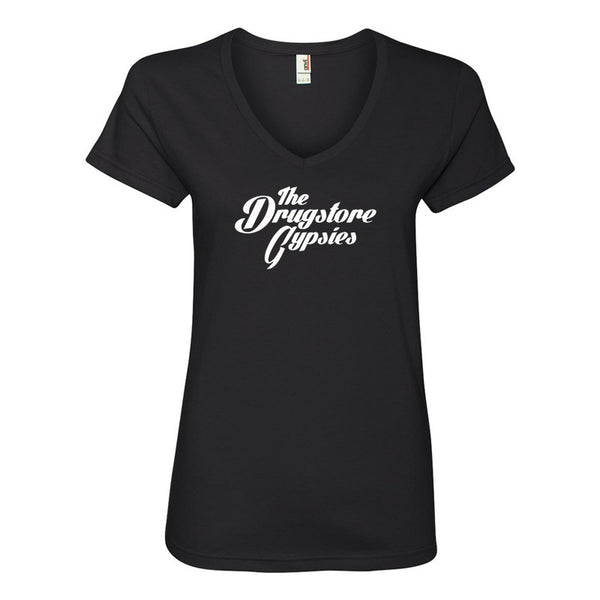 The Drugstore Gypsies - Ladies Logo V-neck Tee (Black)