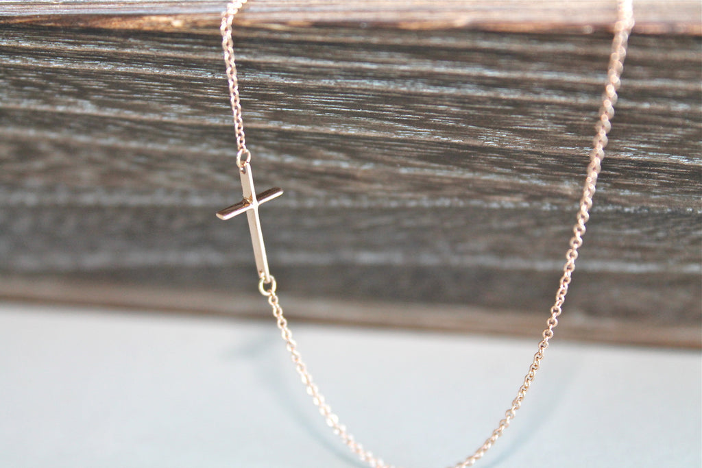 Solid Rose Gold Cross Necklace