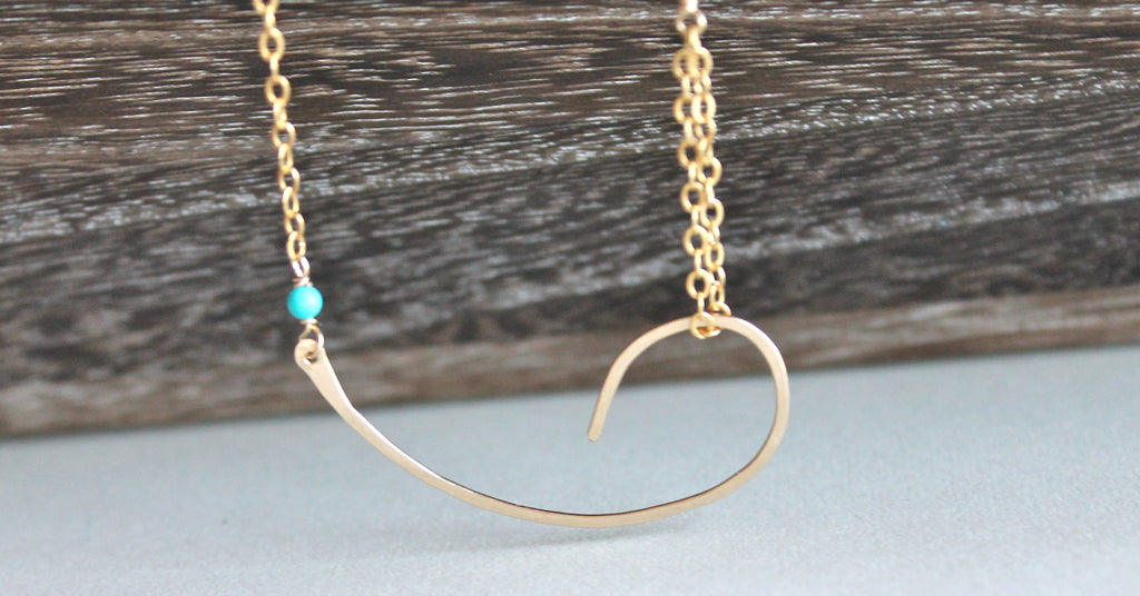 Gold and Turquoise Curved Link Necklace