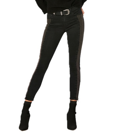Black Pannel Studded Skinny