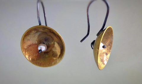 Brass Disc Earrings with Freshwater Pearls