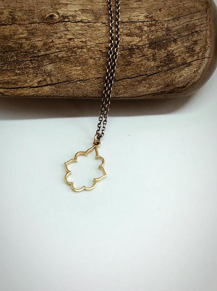 Pendant in 14k Yellow Gold on Oxidized Sterling Silver Chain