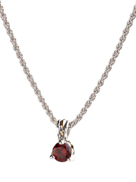 Beijos Collection 7mm Garnet CZ Prong Set Pendant Necklace