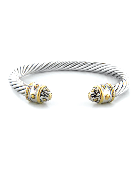 Nouveau Large Two Tone Wire Cuff Bracelet