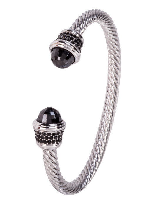Briolette Wire Cuff Bracelet Black with Black Pavé