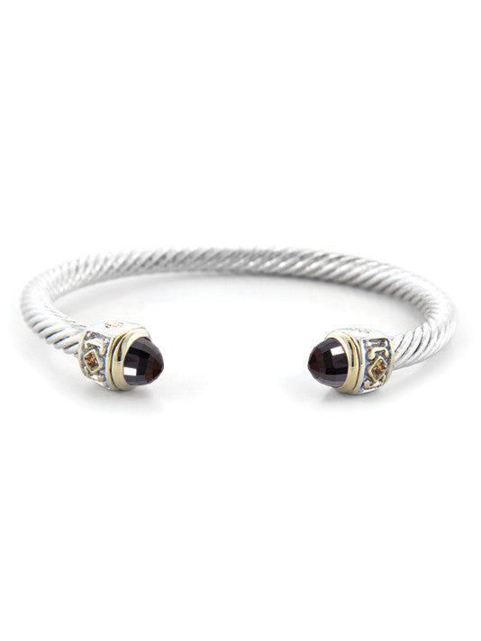 Nouveau Small Wire Cuff with Accent Stone