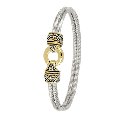 Antiqua Gold Circle Double Wire Bracelet - John Medeiros Jewelry Collections
