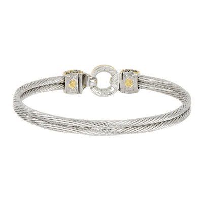 Antiqua Pavé Circle Double Wire Bracelet back