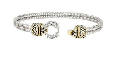 Antiqua Pavé Circle Double Wire Bracelet open clasp