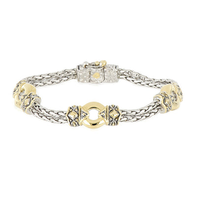 Antiqua Gold Circle Three Station Bracelet - John Medeiros Jewelry Collections