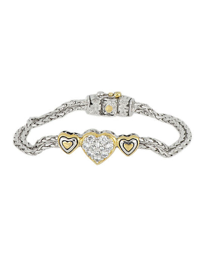 Heart Collection Three Heart Pavé Center Bracelet
