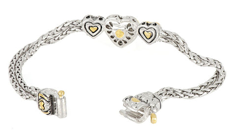Heart Collection Three Heart Pavé Center Bracelet open clasp