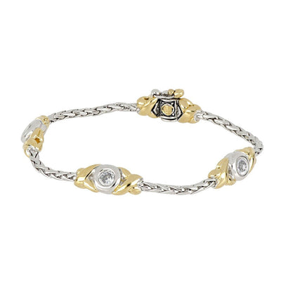 Antiqua Three Station Crystal Circle Bracelet - John Medeiros Jewelry Collections