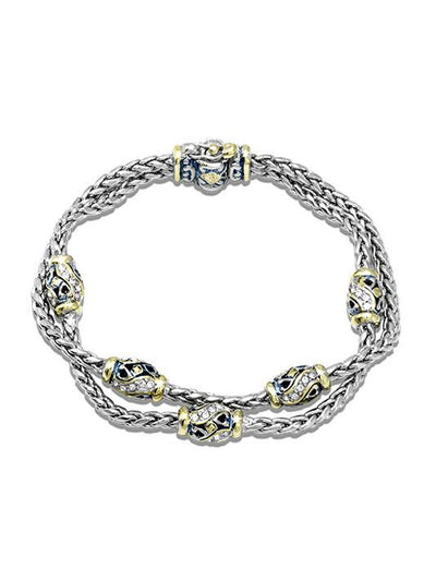 Beaded Indigo Finish Pavé Double Chain Bracelet - John Medeiros Jewelry Collections