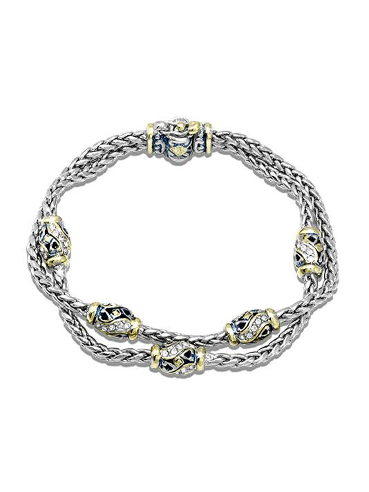 Beaded Indigo Finish Pavé Double Chain Bracelet