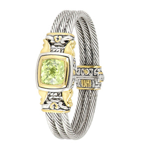Anvil Square Cable Magnetic Clasp Bracelet peridot